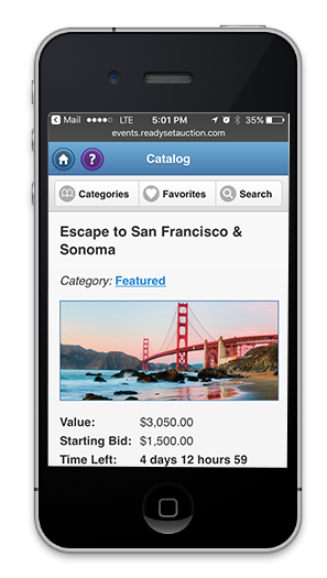 ReadySetAuction Software - Mobile site