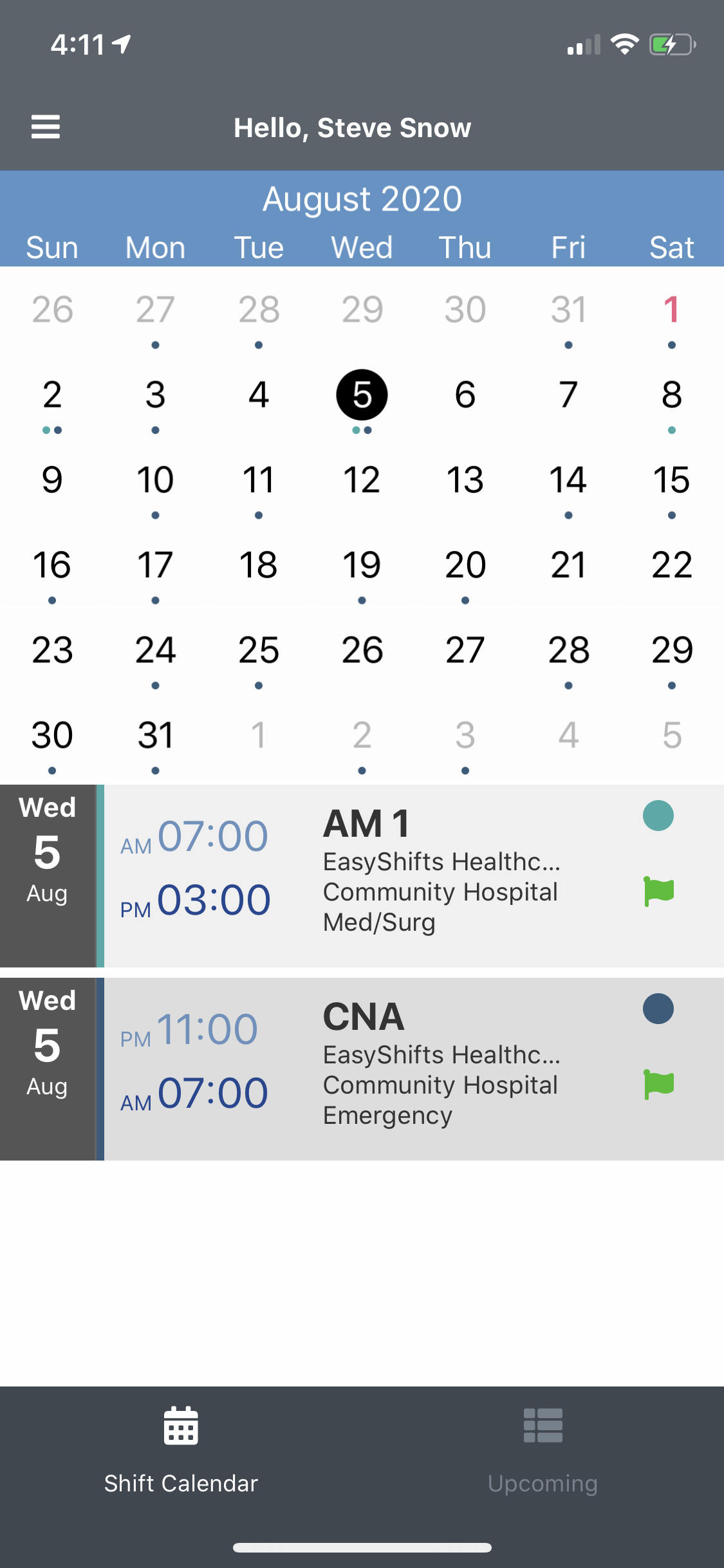 EasyShifts Software - Employees can view their personal schedule across all assigned departments