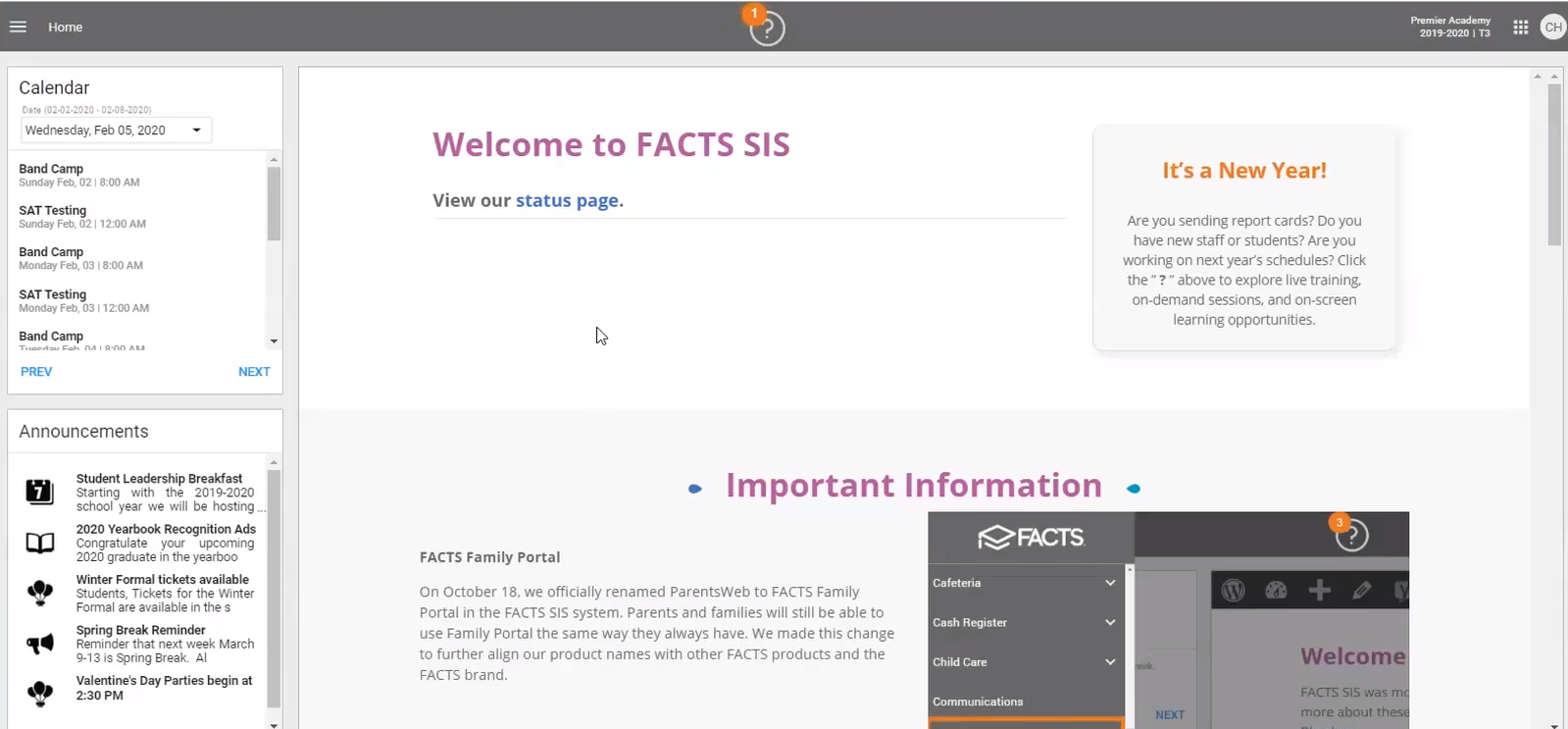FACTS Software - FACTS student information system dashboard
