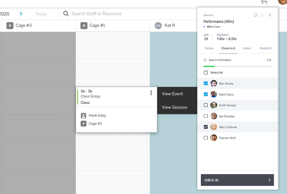 Easily check-in clients, manage waitlist, view notes and session details right form the calendar