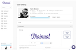 Captura de pantalla de Trainual: Trainual Account Info editor where you can set account level brand styles and personal information