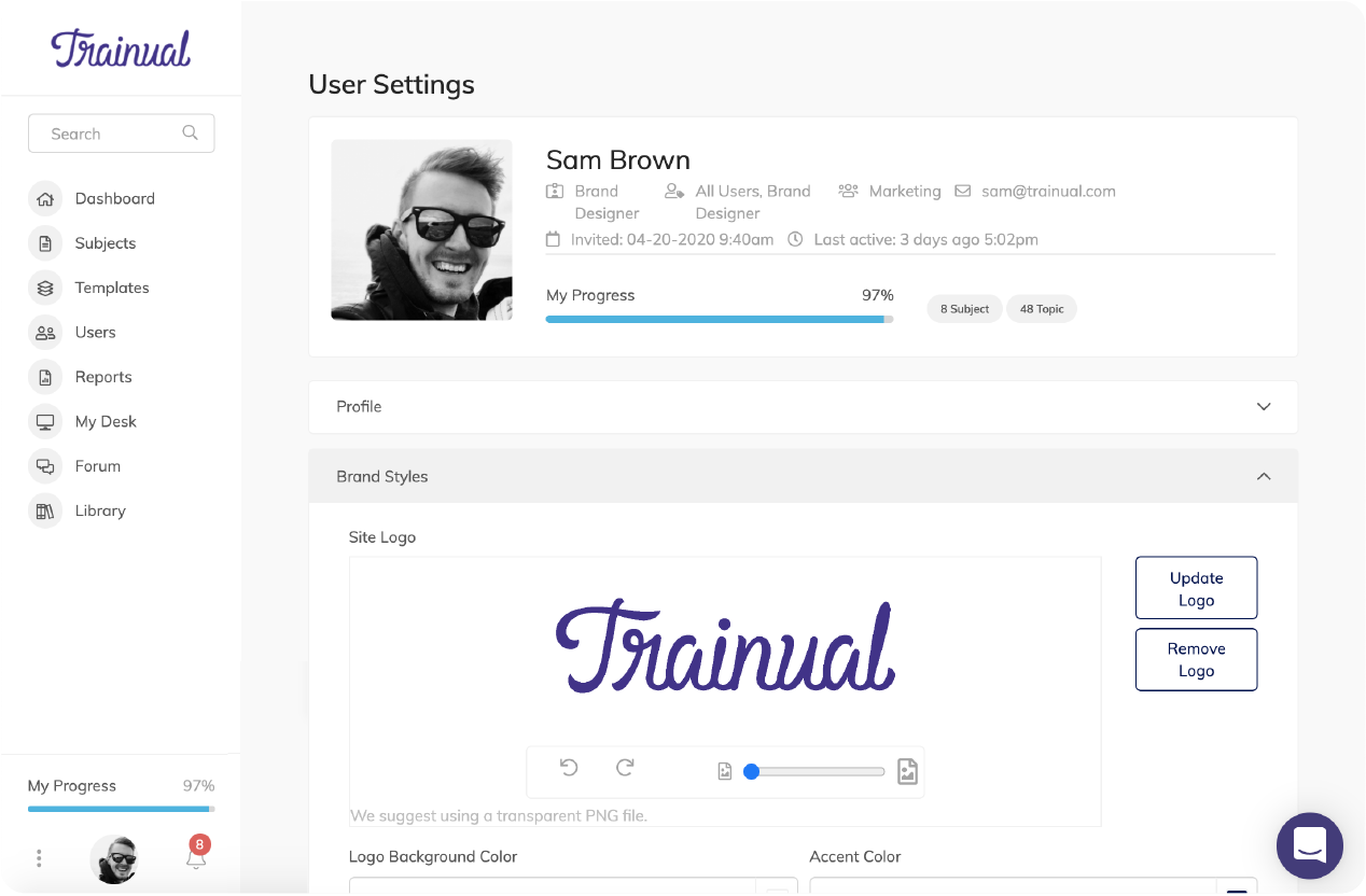Trainual Account Info editor where you can set account level brand styles and personal information