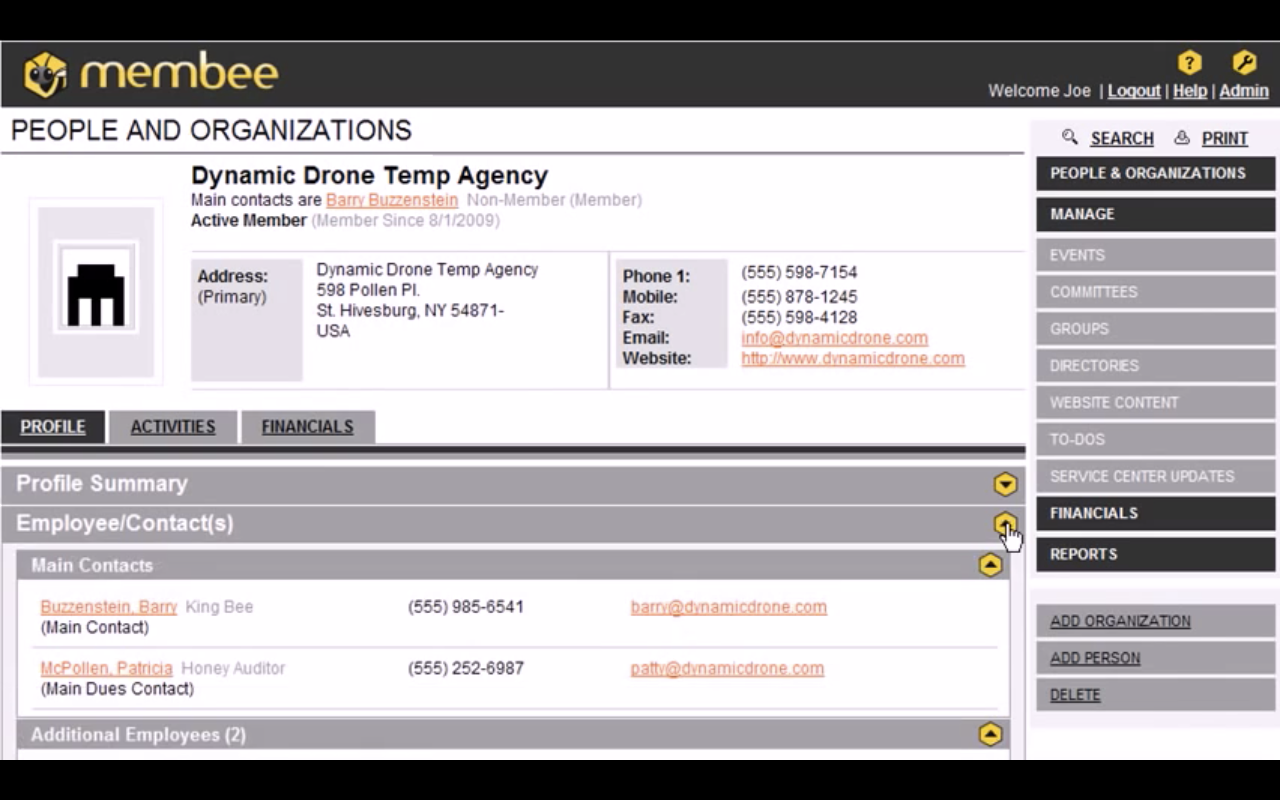 Membee screenshot: The People and Organizations tab provides access to members' profiles, contacts, and activities