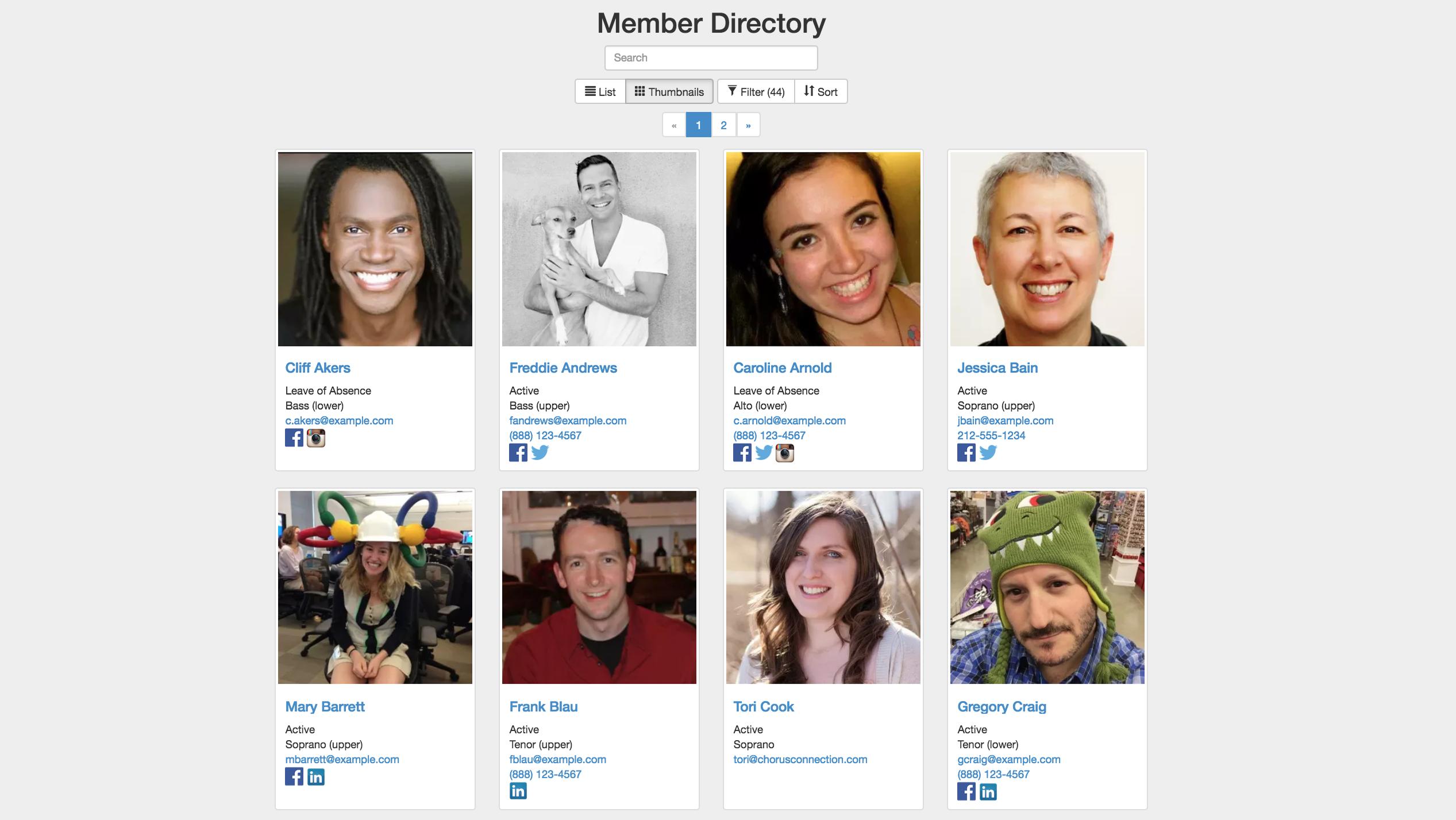 Chorus Connection membership directory
