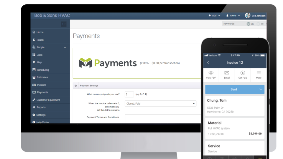 mHelpDesk Software - Integrated payment processing