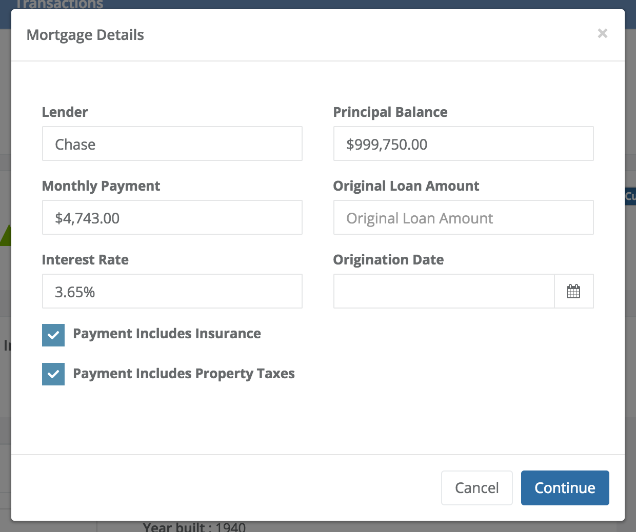 View mortgage details including principal balance, interest rate, and monthly payment