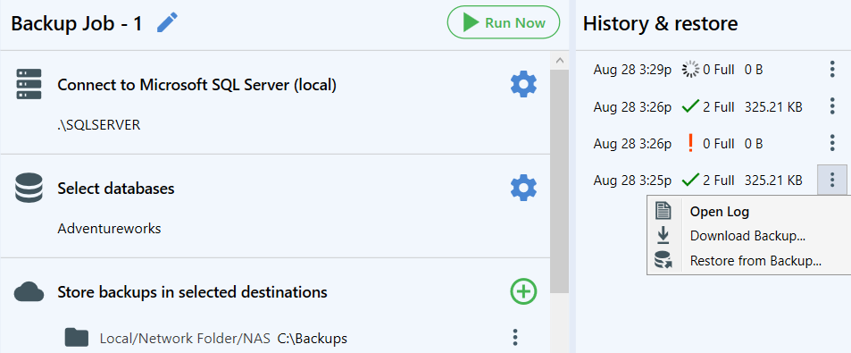 """At the """"History & restore"""" pane you can monitor the status your backups, check the logs, download the backups and restore them if it is needed"""