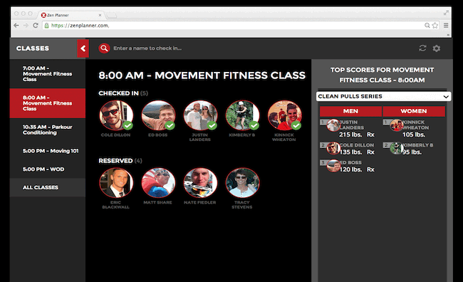 Display current class workouts and top performers for members to view while they check-in