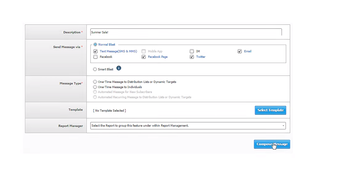 Creating messaging campaign with pre-built content templates via one or multiple channels