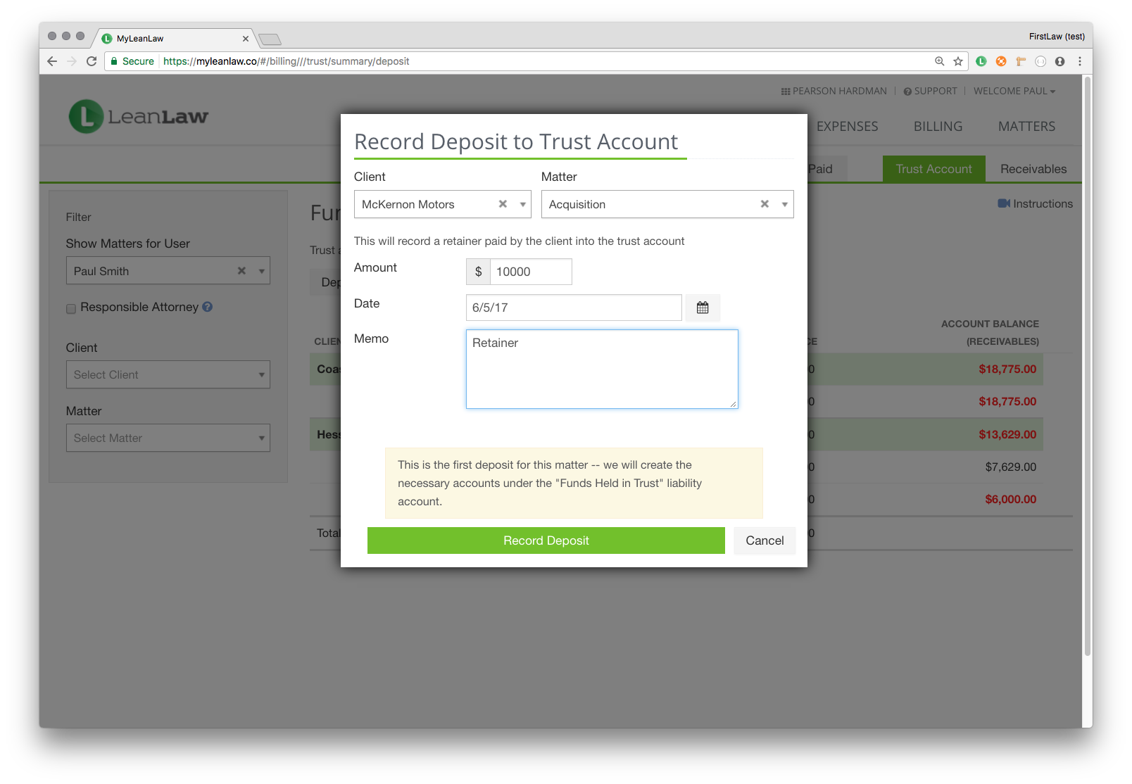 Trust account