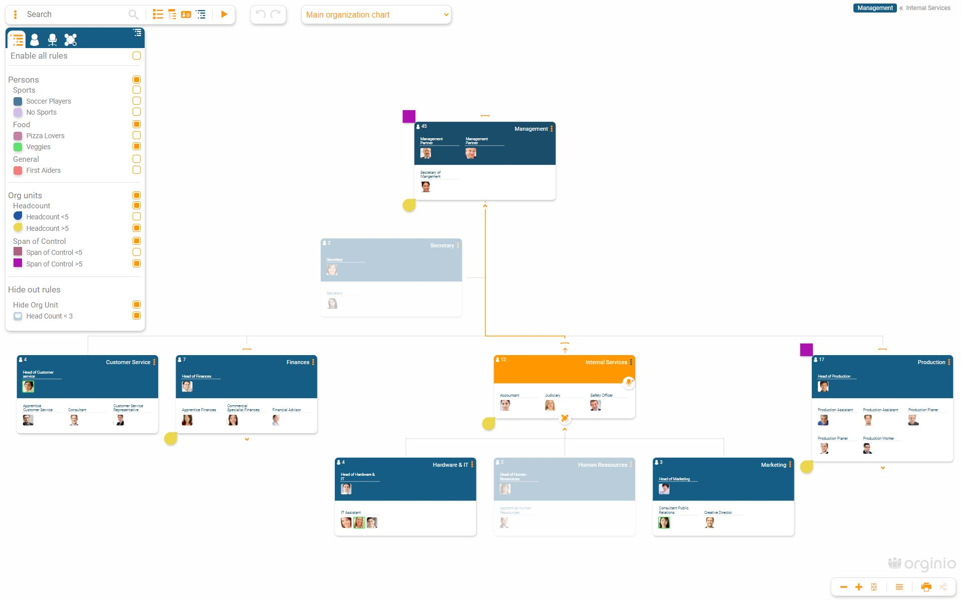 Set display rules to get a quick overview of particularly important aspects within the org chart.
