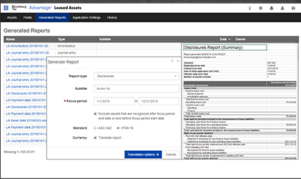 Advantage Leased Assets reports screenshot