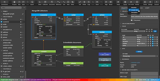Moon Modeler schema design for MongoDB