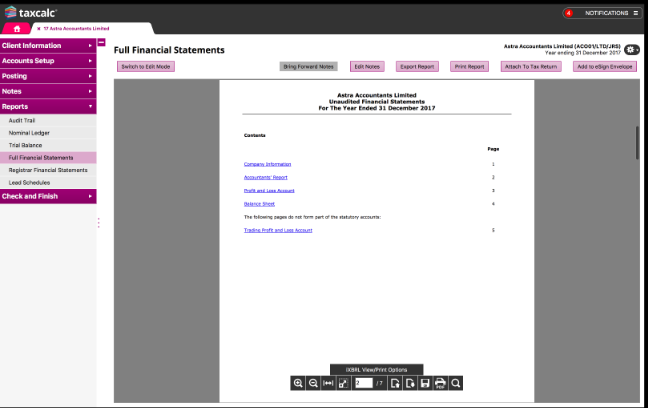 TaxCalc financial statements