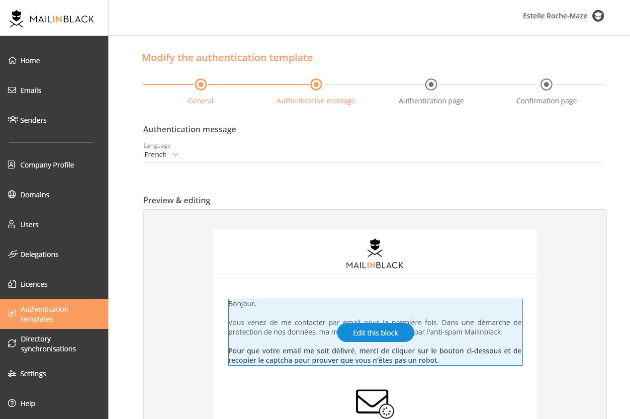 Mailinblack creating authentication request
