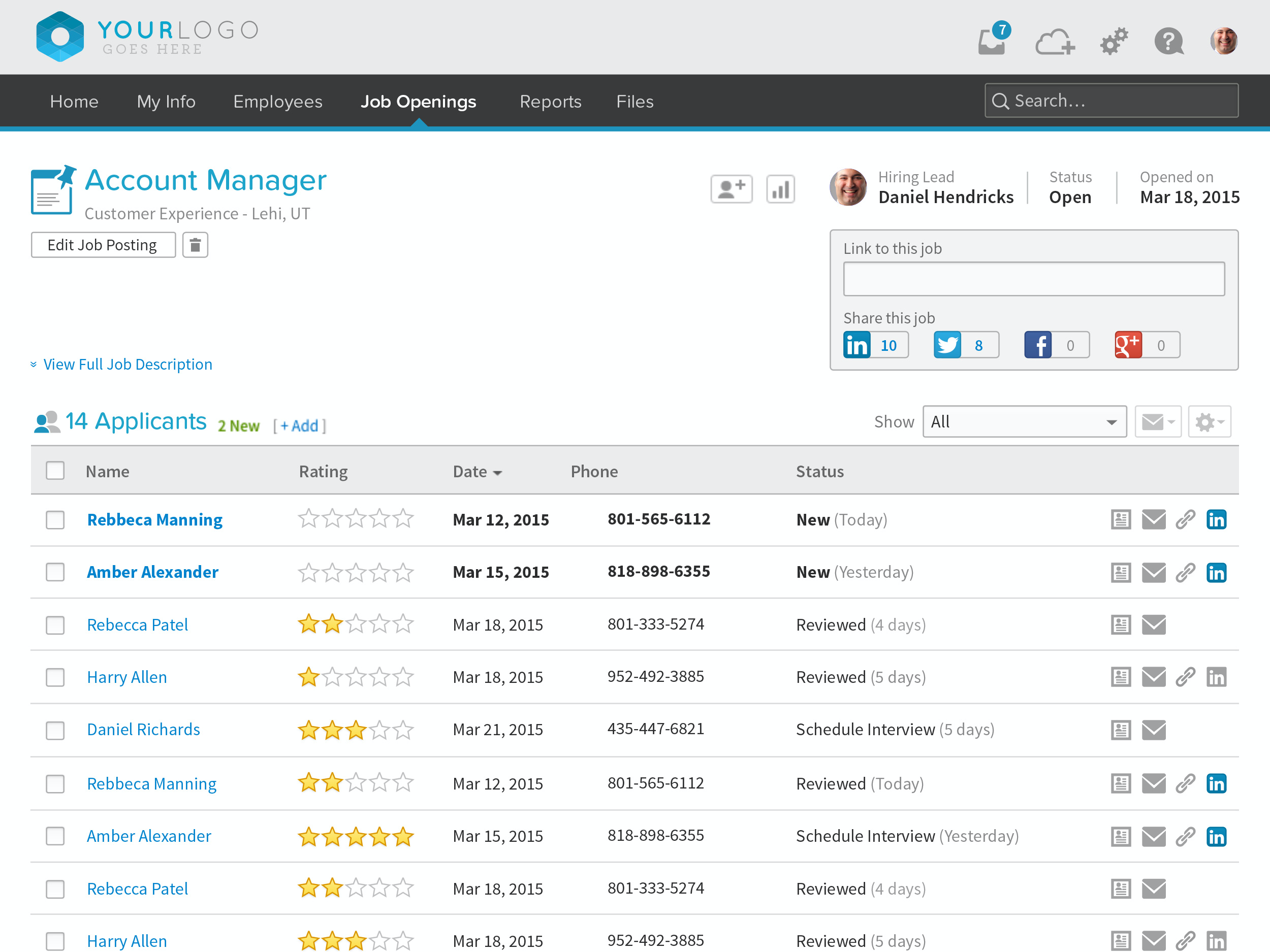 BambooHR Job Applicant Tracking