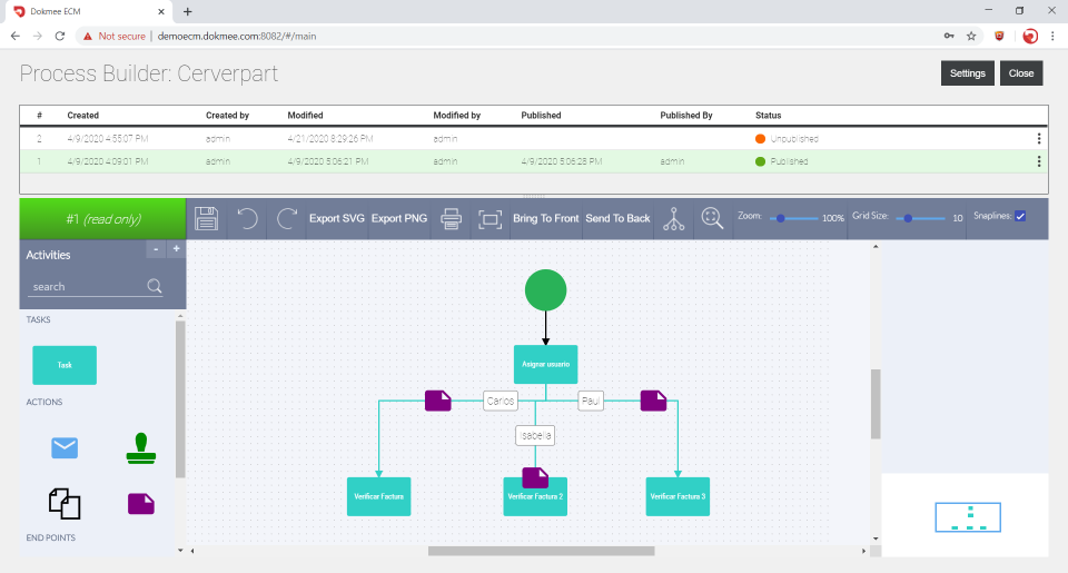 Dokmee ECM process builder