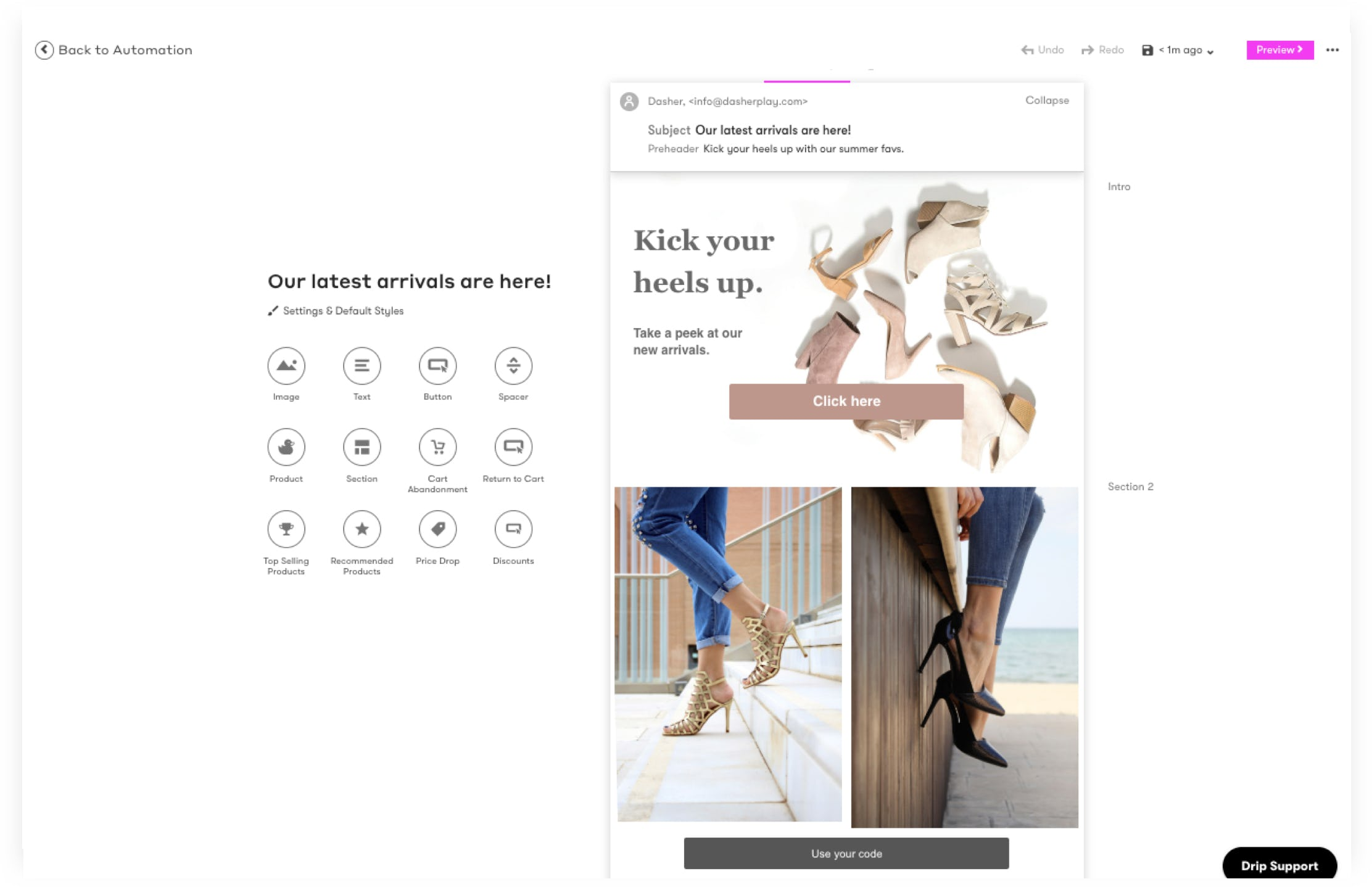 Drip Software - Visual Email Builder - Create personalized, branded emails with our simple yet powerful visual email builder.