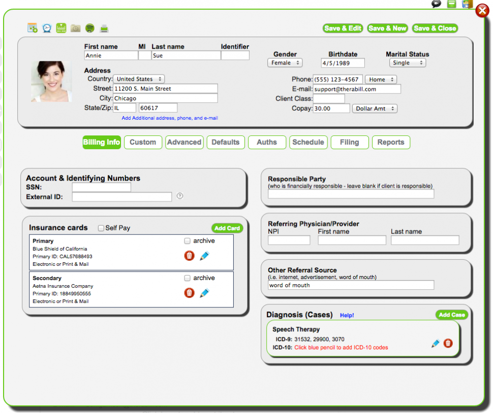 Therabill Software - Client and insurance details