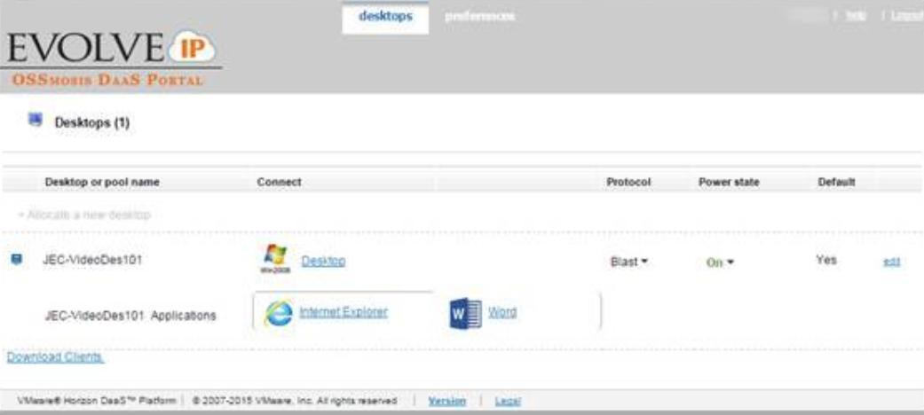 Evolve IP DaaS desktops information