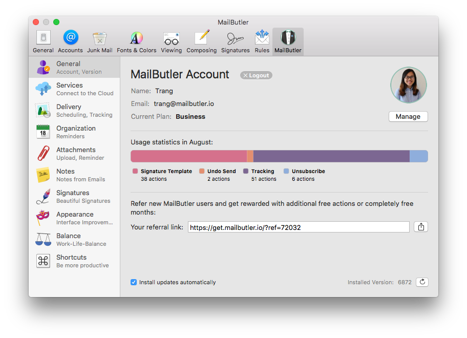 Mailbutler screenshot: The main window with information of profile and usage