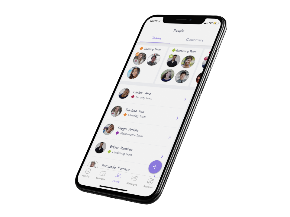 Genio screenshot: Team members and leaders can be managed in Genio