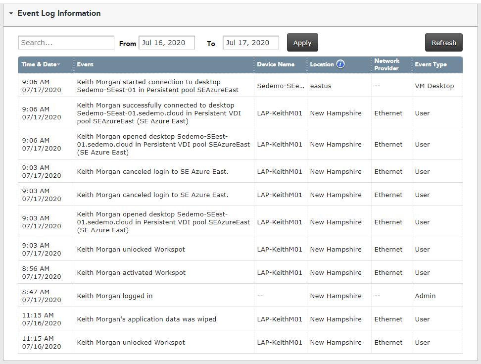 Workspot event logs