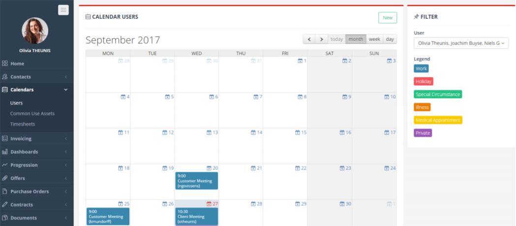 KeyOffice calendar and timesheets