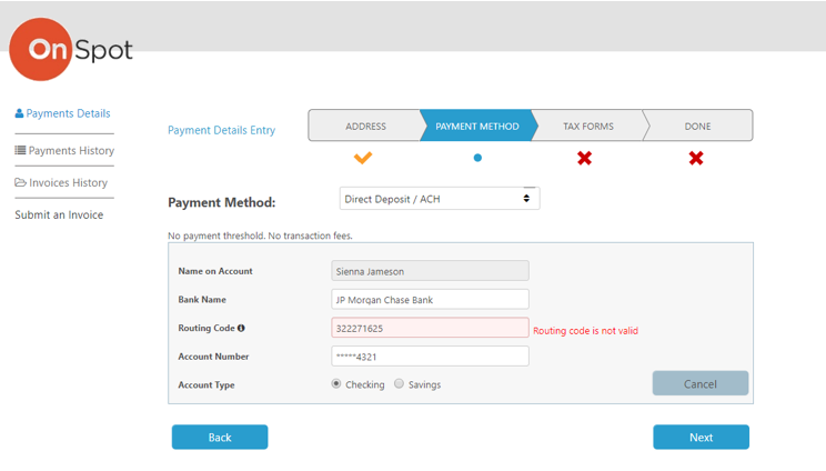 Supplier Portal with real-time payment data validation during onboarding