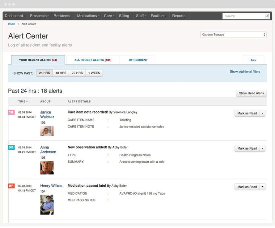 The alerts center enables users to know the key events happening at the facility