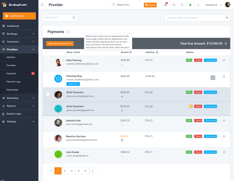 BookingKoala Software - Payments