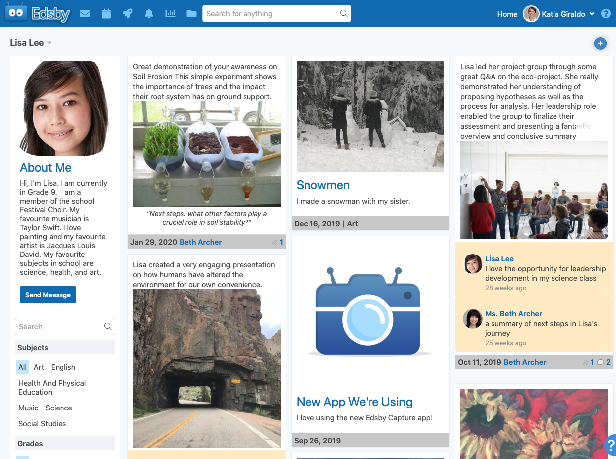 A student eportfolio in the Edsby learning and analytics platform