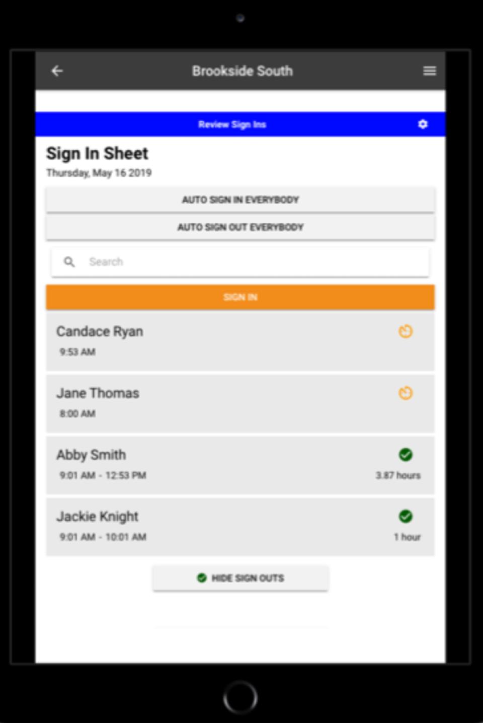 Volunteer Check In Kiosk screenshot: Volunteer Check In Kiosk sign in sheet
