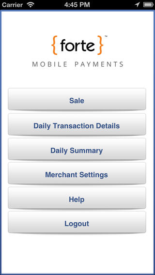 Forte Payment Systems screenshot: Forte app for mobile payments
