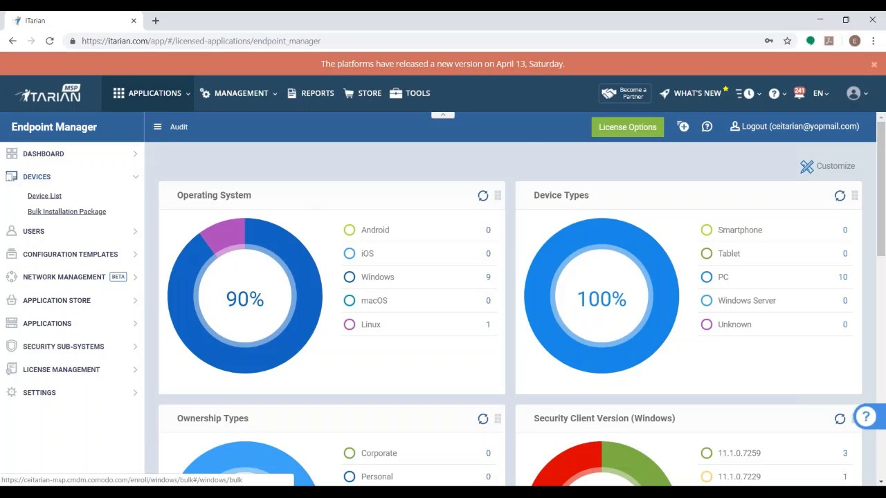 ITarian applications management dashboard