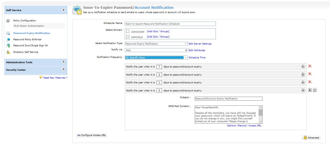 ADSelfService Plus Password expiration notifier