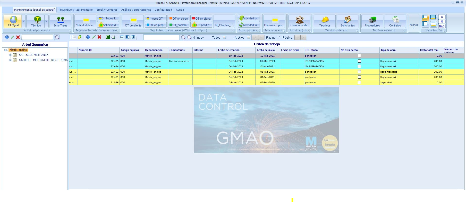 Matrix Engine GMAO screenshot: Visualización de la plataforma