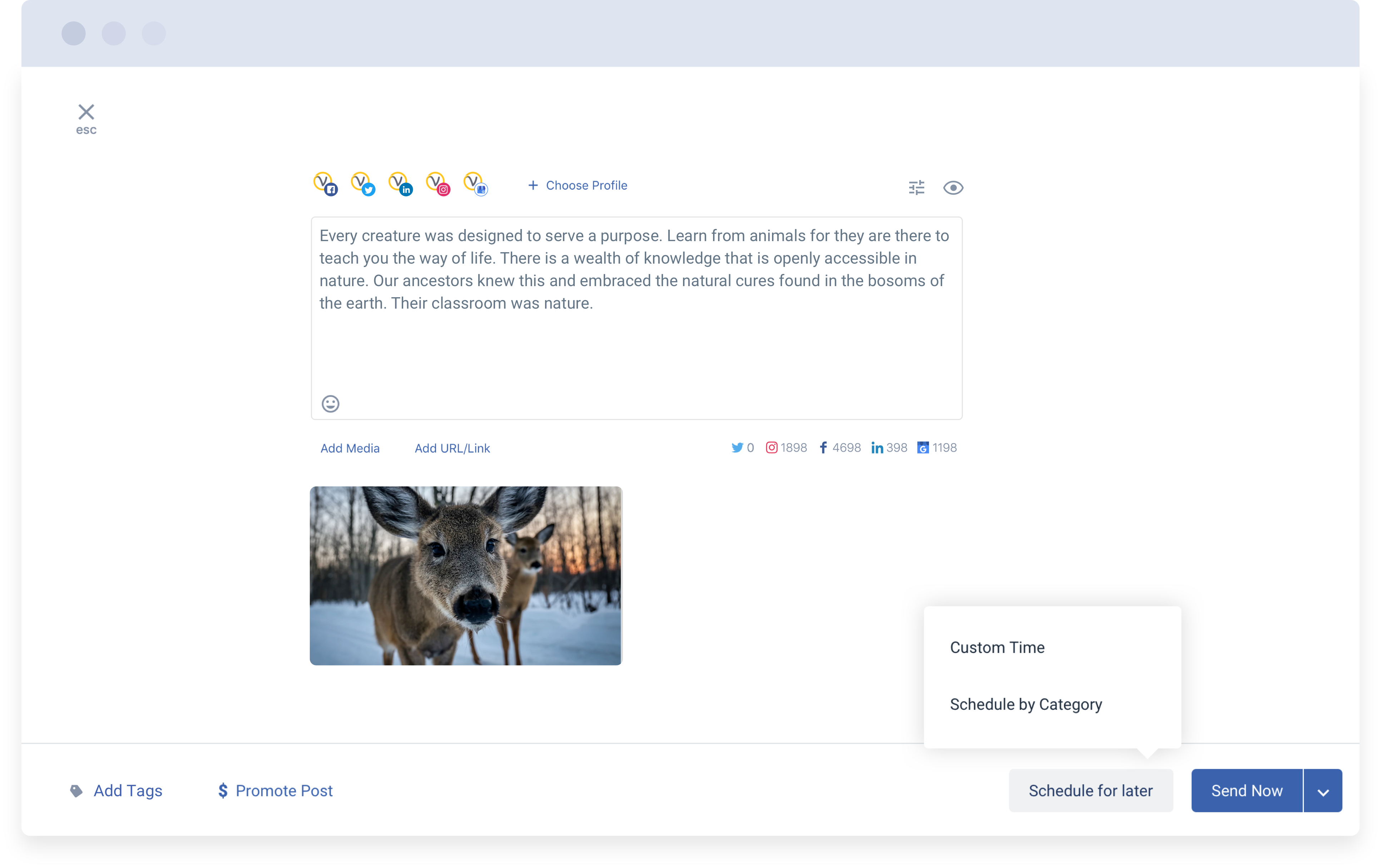 Compose : Schedule and publish your social media campaigns across major social networks. Using CSV upload, schedule hundreds of posts and images in a single click and save hours worth efforts.