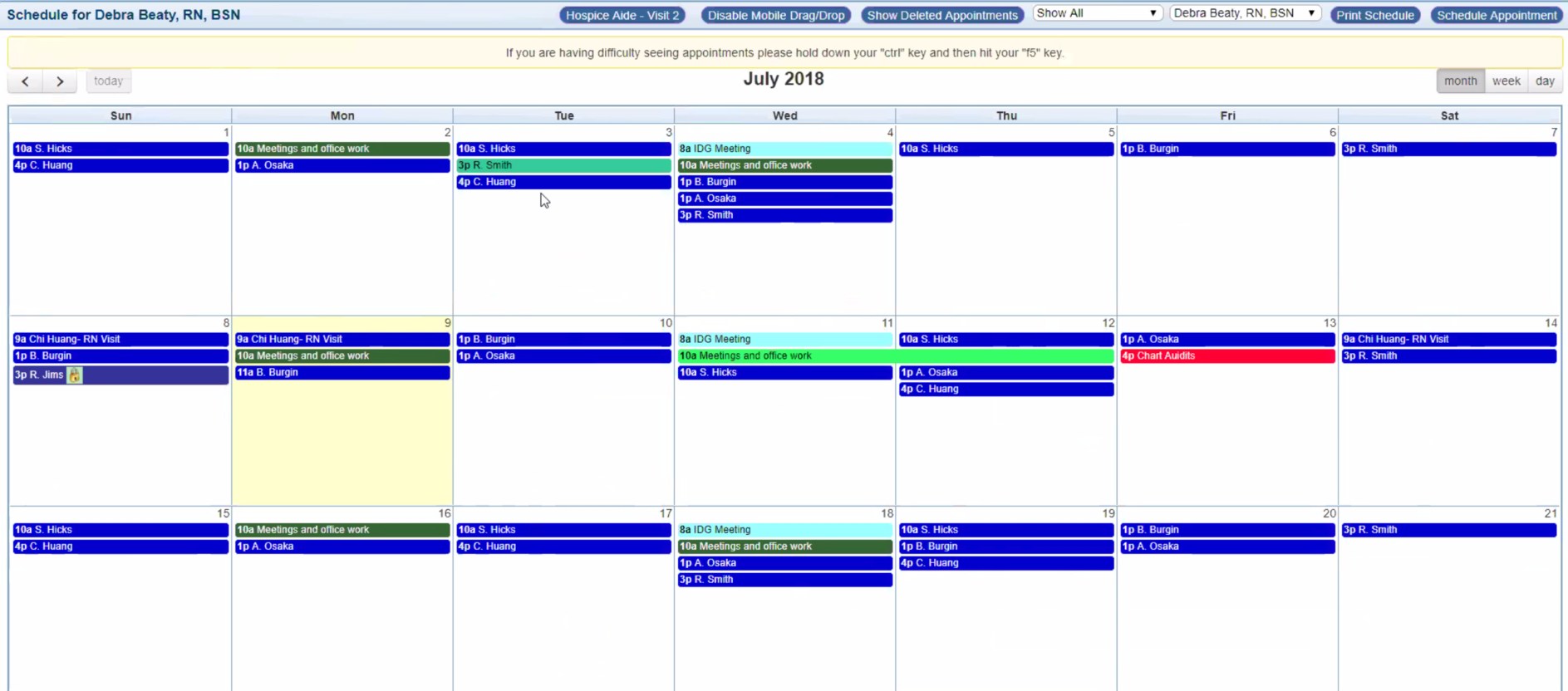 Drag-and-drop, color-coded scheduling via the calendar