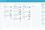 9teams screenshot: Kanban boards with drag-and-drop functionalities allow for visual and agile management and effortless follow-up.  Boards can easily switch from one to another dimension.