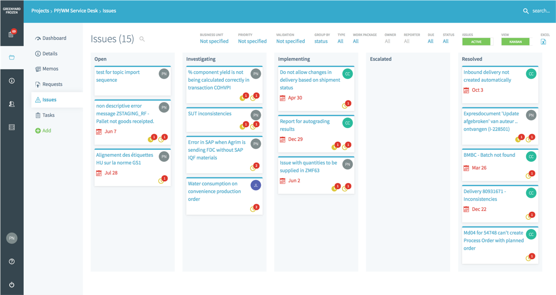 Kanban boards with drag-and-drop functionalities allow for visual and agile management and effortless follow-up.  Boards can easily switch from one to another dimension.