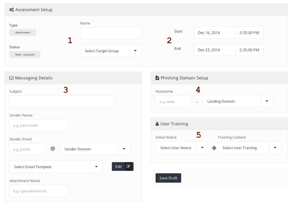 Symantec Phishing Readiness assessment settings