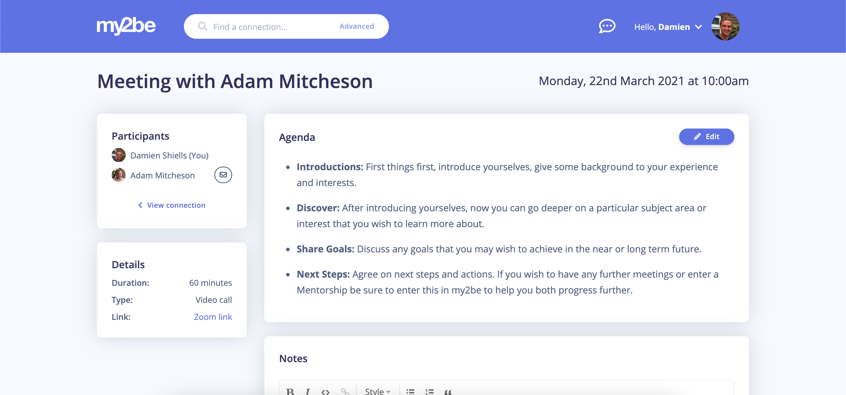 my2be Software - Simply manage meetings with Zoom links, agenda, notes and actions all in one handy place