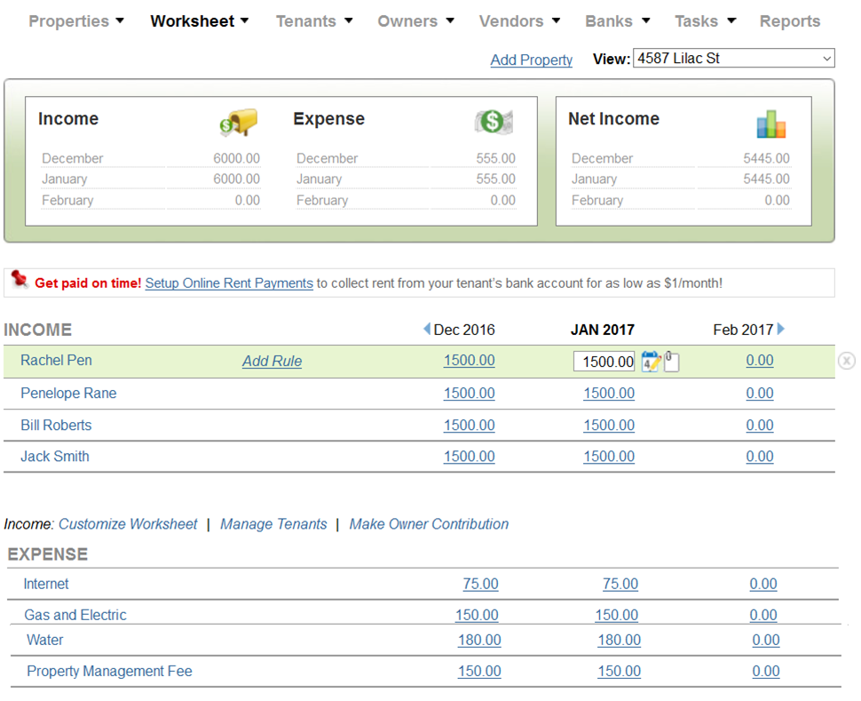 Track Income and Expenses