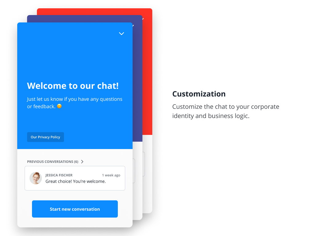 Fully customize the Website Messenger to fit your brand.