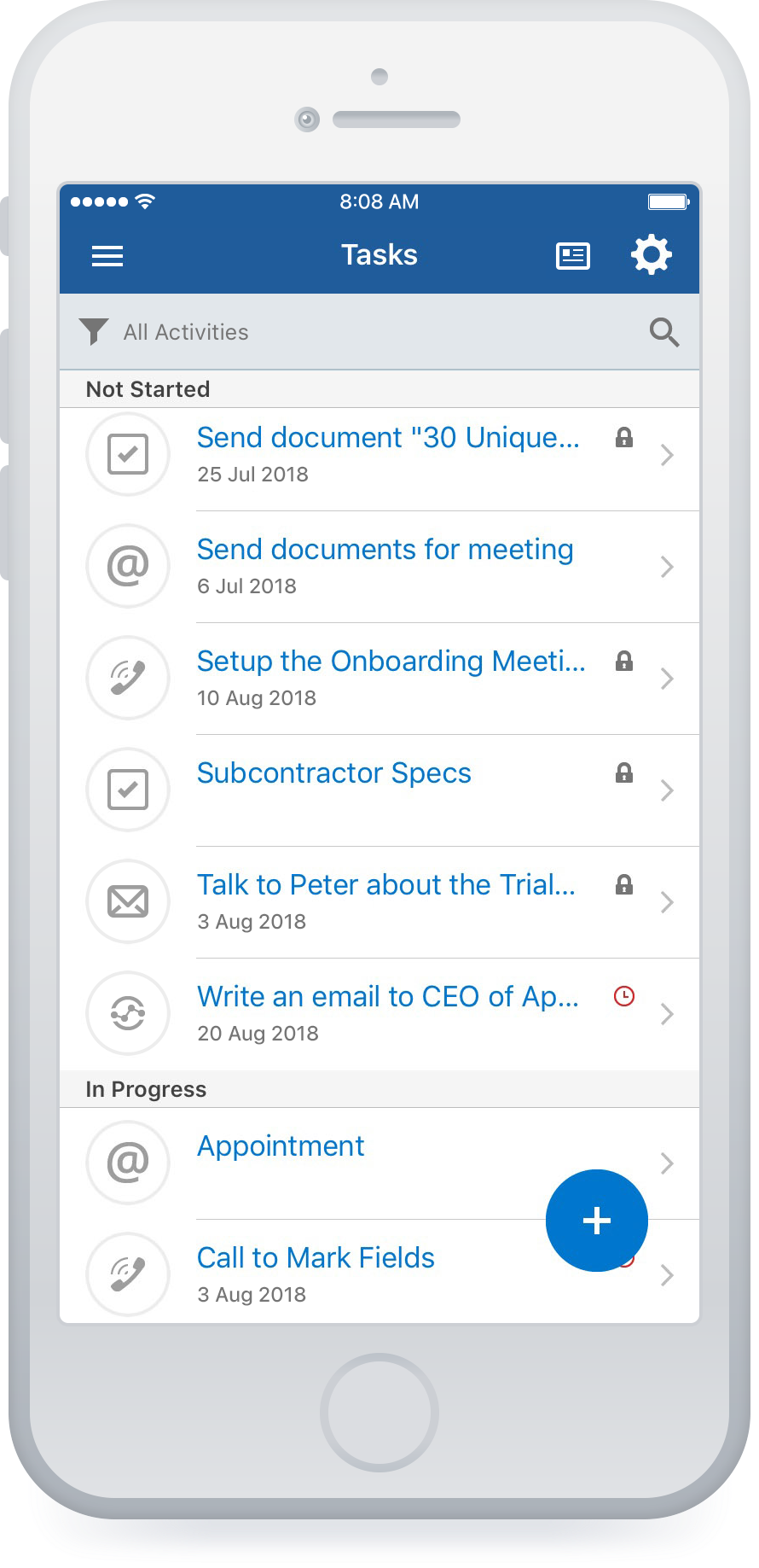 Mobile task list view