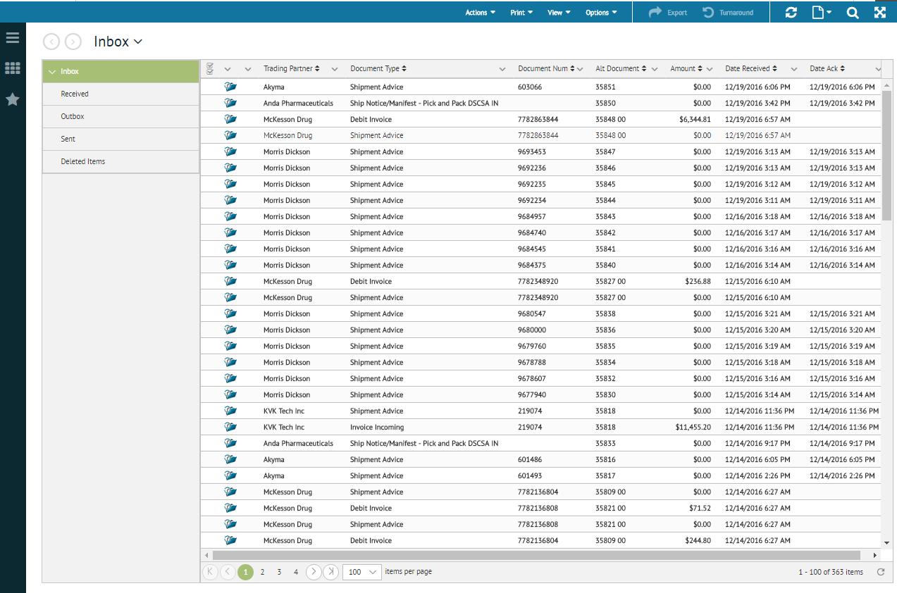 TrueCommerce EDI Solutions inbox screenshot