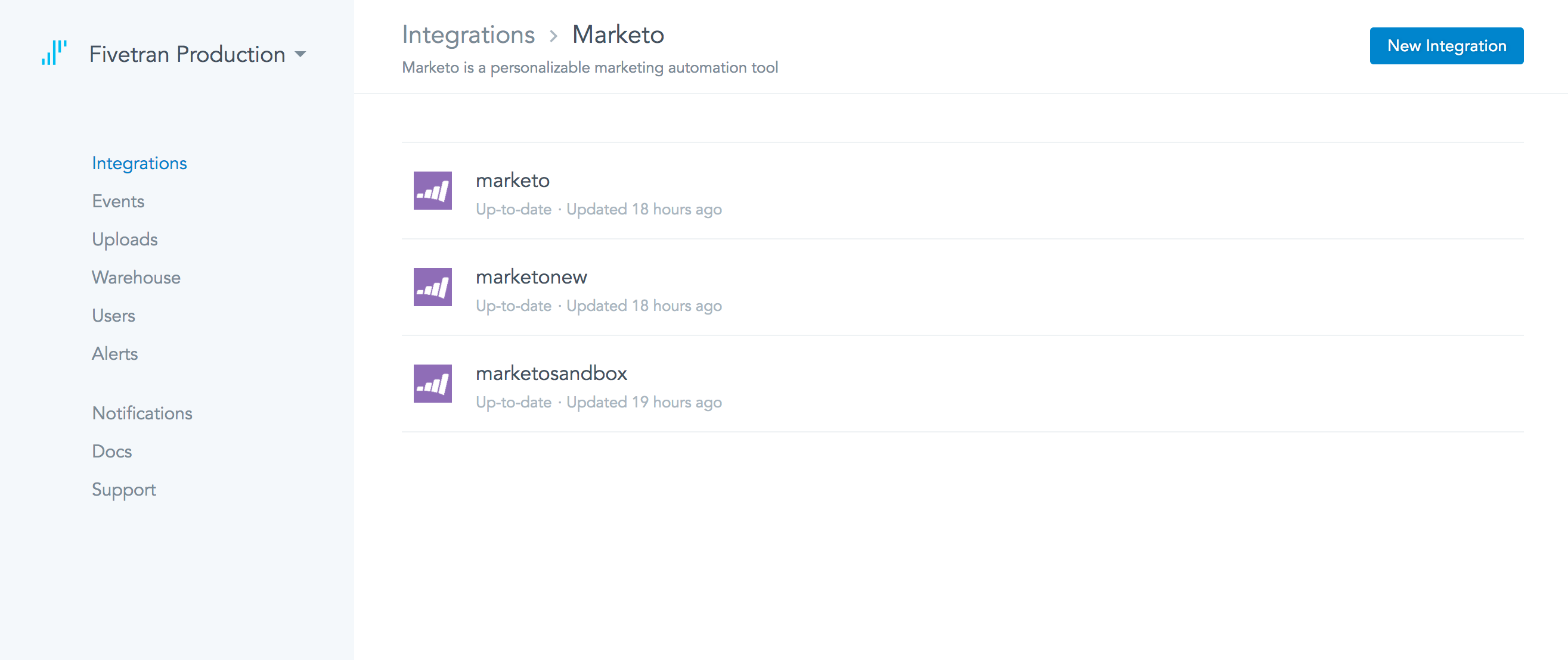 Users can add Marketo as a data connector and pull data in batch updates