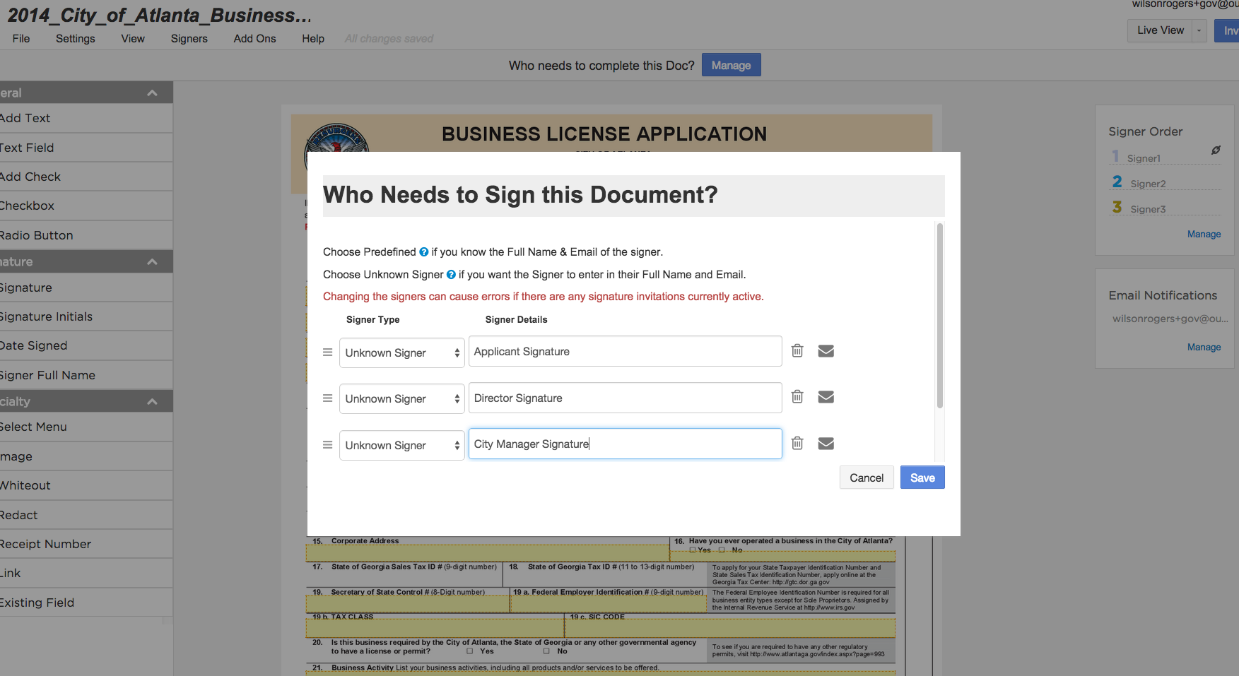 Create signature workflows for documents