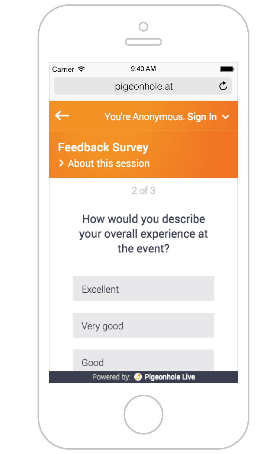 Simple bite-sized surveys with open-ended and multiple choice questions for quick feedback